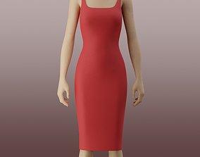 3D model Bodycon pencil dress