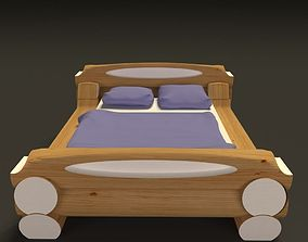 Highland style wooden bed 3D model
