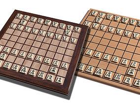 3D model low-poly Shogi board dual package
