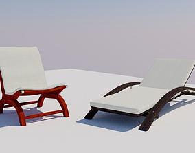 Chair and Deckchair 3D asset