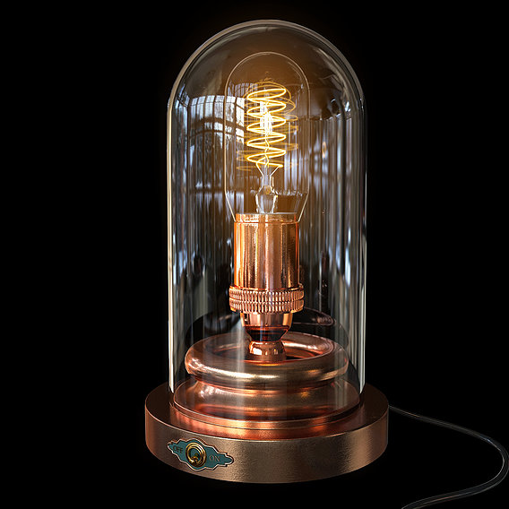 Steampunk Glass Case - Edison Lamp