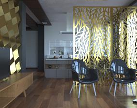 3D interior scene for a living room