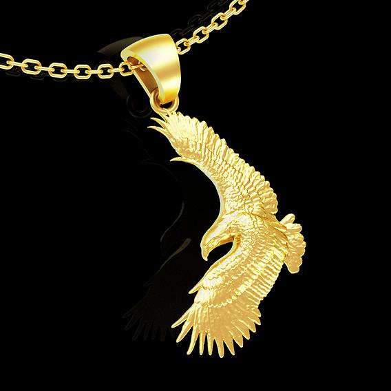 Eagle Flight pendant jewelry gold necklace medallion 3D print model