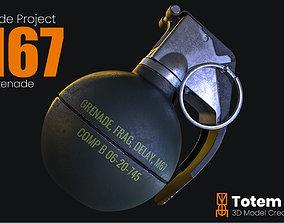3D asset game-ready M67 Frag Grenade