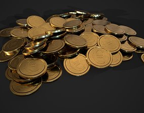 3D asset gold coin - euro design A