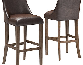 Restoration Hardware Ella Leather Armless Stool 3D