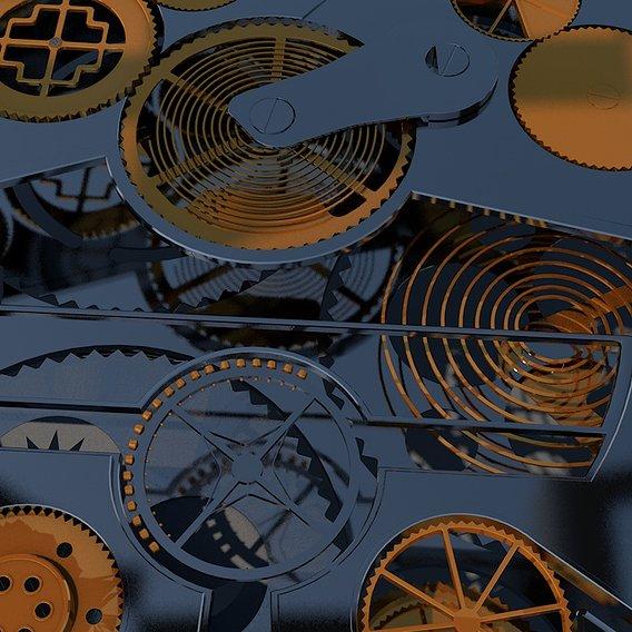 3D mechanism of mechanical golden silver watch