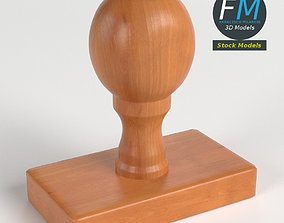 Wooden rubber stamp 3D