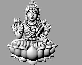 3D printable model laxmi bhagwan with flower indian