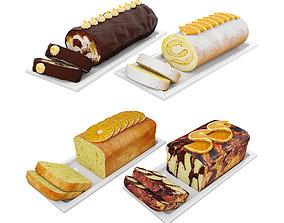 3D model Orange cake collection 3