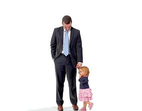 Standing Man Holding Hand of a Baby Girl 3D model