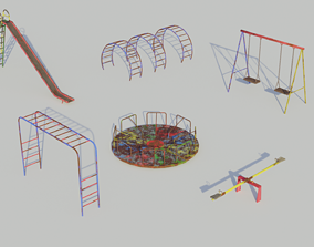 Old Playground Equipment - Low-poly PBR 3D model