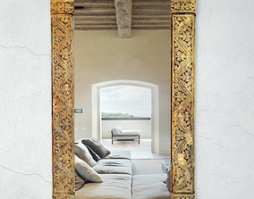 Old Carved Wood Moulding Mirror 3D model