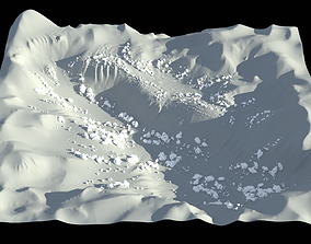 3D High-poly terrain in low-poly style