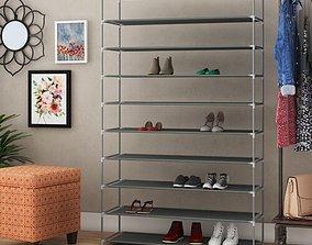 Gray Burrier 50 Pair Shoe Rack 3D model