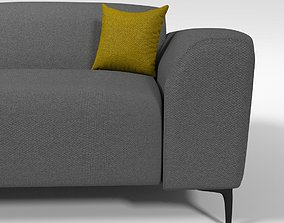 3D Modern 3 seater grey couch