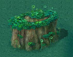 Cartoon version - spore forest terrain 3D model