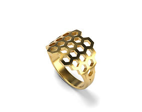 Honeycomb Ring 15 SIZES 3D printable model