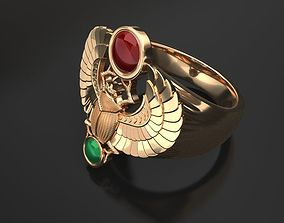 3D print model Gold scarab bug ring - classic
