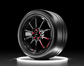 Car wheel Maxxis Victra tire with RAYS Volk 3D model 1