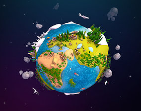 Cartoon Lowpoly Earth Planet 2 3D asset