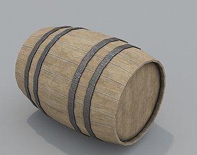 3D model low-poly Wooden Barrel PBR