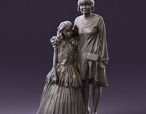 000990 Asian woman in blue girl in white dres3D Print