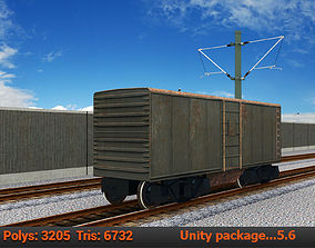 3D model freight wagon Lowpoly