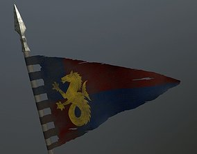Medieval flag on the spear 3D asset game-ready