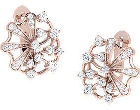 Women hoop huggie Earrings 3dm stl render 1