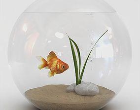 3D Golden Fish Bowl