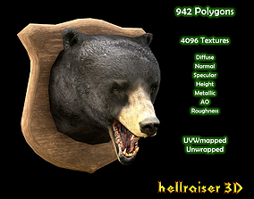Bear Head - PBR - Textured 3D model
