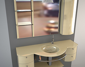 3D model Glass wash-basin with cabinets mirror and lamp