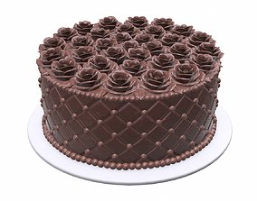 3D PBR Chocolate cake side