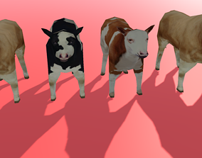 Cows and Bull Pack 3D model animated