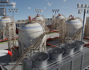 3D model Petroleum Refinery Storage Tanks
