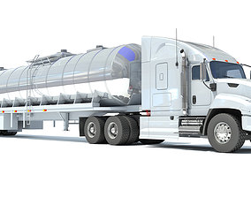 White Truck with Semi Trailer Tank 3D model