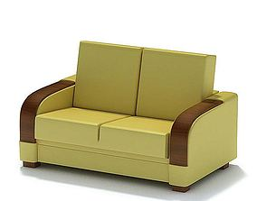 Yellow Love Seat Couch 3D