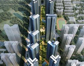 3D model Super high-rise bidding project