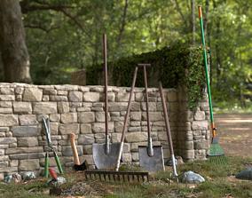 3D asset gardening hand tools axe rake shovel