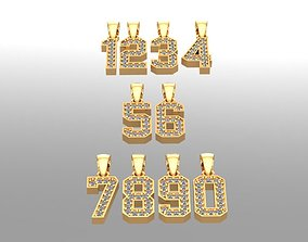 numbers pendant gold silver diamond lucky 3D