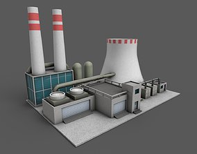 Power Plant Low poly 3D asset low-poly