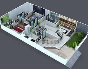 Cut out floor plan for duplex 3D print model