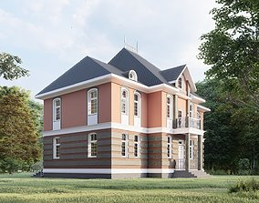 Residential building in classic style 3D model