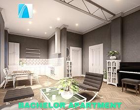 3D model Bachelor Studio Apartment Scene - Archicad