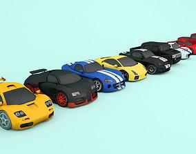 Cartoon car pack Low-poly 3D model