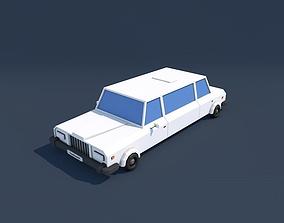 Low Poly Limousine Car 3D asset