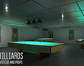 Billiards - interior and props 3D asset