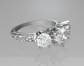 Art deco three stone ring 3D printable model
