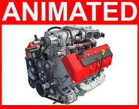 3D Animated V8 Engine crank